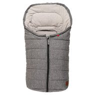 Fleece footmuff Anna for infant carriers and bathtubs - Melange Anthracite Grey