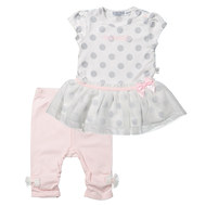 2-tlg. Set Kleid + Leggings - Little Ballerina Rosa Weiß