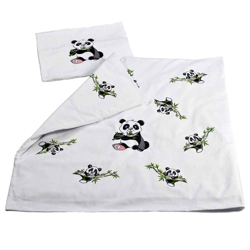 makian baby bettw sche 80 x 80 cm panda wei 100 baumwolle ebay. Black Bedroom Furniture Sets. Home Design Ideas