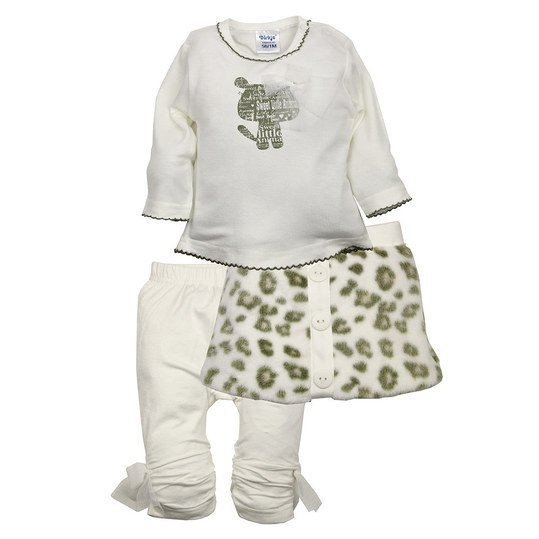 3er Set Rock+Leggings+Shirt Little Animal Gr. 56 - Offwhite-Sand