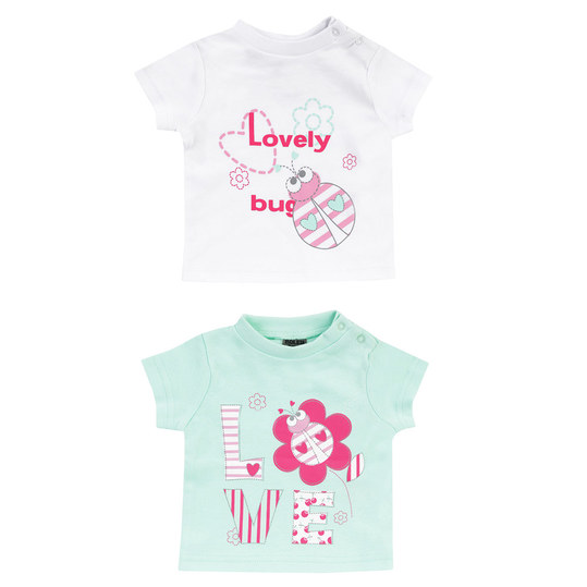 T-Shirt 2er Pack - Lovely Bug Weiß Mint - Gr. 74/80