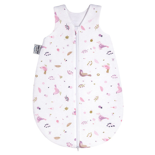 Schlafsack Jersey wattiert - Berries and Birds Rosa - Gr. 62