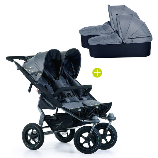 Geschwister- & Zwillingskinderwagen Twin Adventure 2 inkl. 2 Babywanne Twin mit Adapter - Quiet Shade
