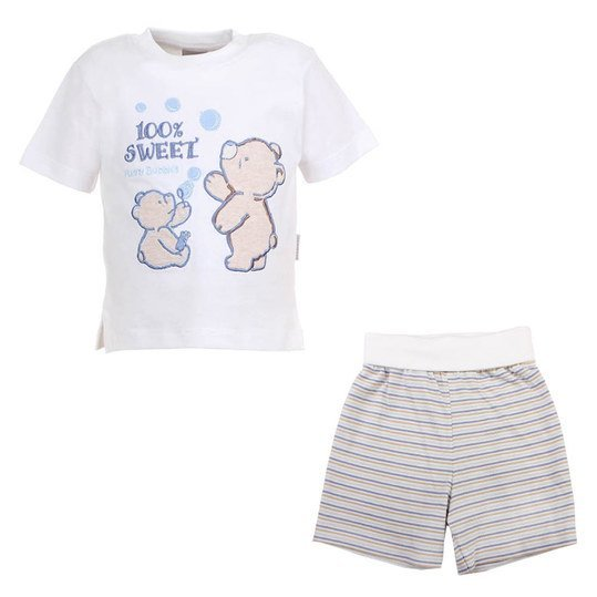 2-tlg. Set T-Shirt + Shorts - Sweet - Weiß Blau Beige - Gr. 74