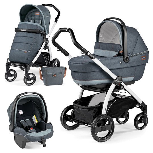 Kinderwagen-Set Book Plus S XL Completo Modular Gestell Weiß - Blue Denim
