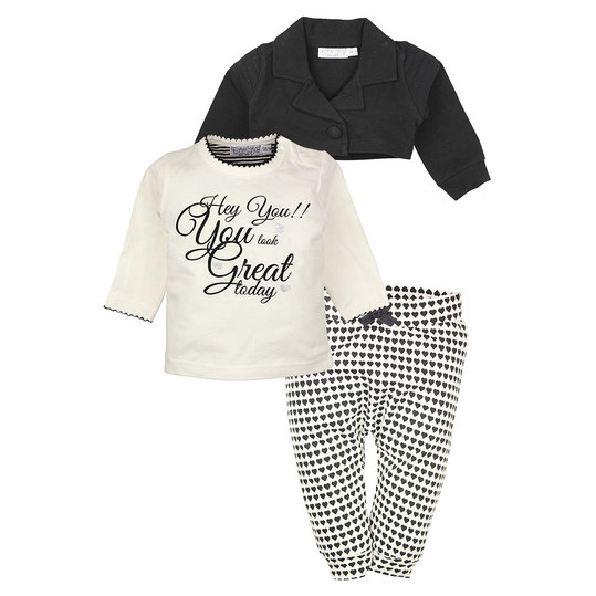 3-tlg. Set Langarmshirt + Hose + Bolero - Hey You! Black Offwhite - Gr. 86