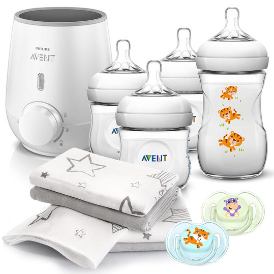 Premium Starter Set Natural 11-pcs. - Baby food warmer + 4x baby bottle + 2x pacifier + 4x spittoons