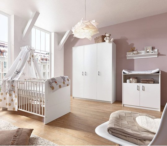 schardt kinderzimmer classic white mit 3 t rigem schrank bett wickelkommode. Black Bedroom Furniture Sets. Home Design Ideas