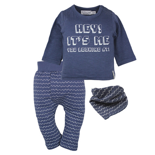3-tlg. Set Langarmshirt + Hose + Halstuch - Hey! It's Me Navy - Gr. 62