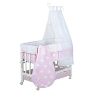 Cot 3 in 1 Babysitter White incl. Accessories - Small Cloud - Pink