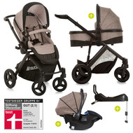 4in1 Kinderwagen-Set Maxan 4 Plus inkl. Babyschale Comfort Fix und Isofix Basis - Melange Sand