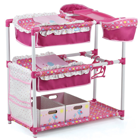 Twin dolls play centre with bed, changing table, high chair, clothes rail and much more. - birdie