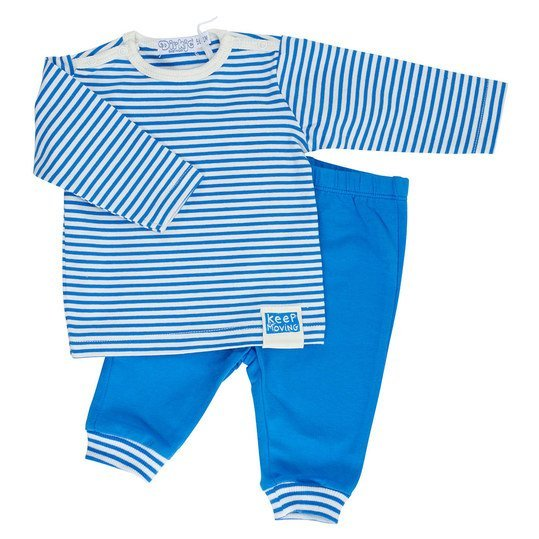 2-tlg. Set Langarmshirt + Hose Keep Moving - Ringel Blau Offwhite - Gr. 68
