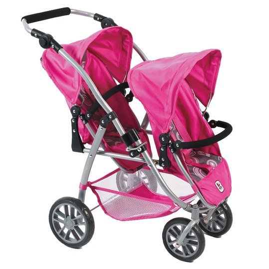 Zwillings-Puppenbuggy Vario - Hot Pink Pearls