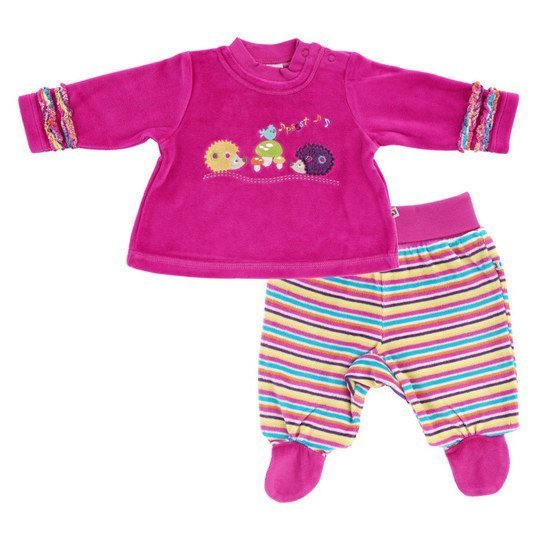 Set Nicki Langarmshirt+Hose Forest Friends Gr. 68 - Himbeere