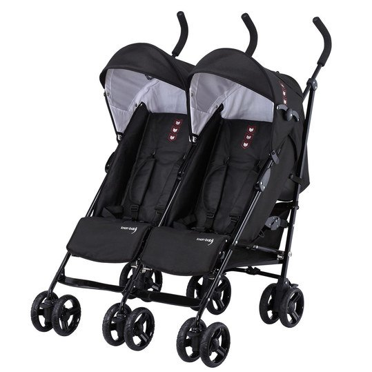 knorr baby geschwister zwillingsbuggy side by side schwarz. Black Bedroom Furniture Sets. Home Design Ideas