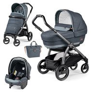 Kinderwagen-Set Book S Elite Completo Modular Gestell Jet Anthrazit - Blue Denim
