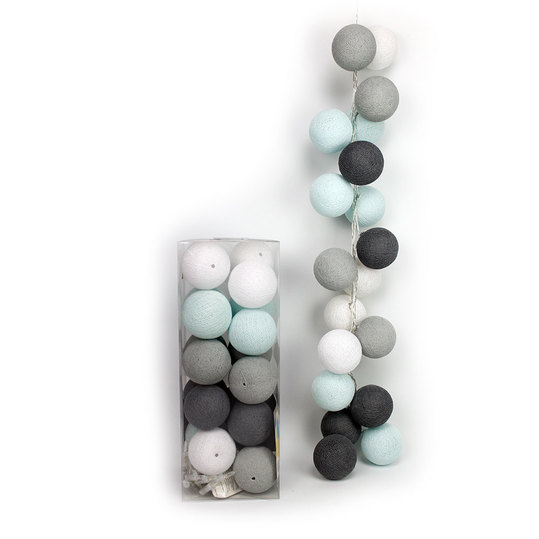 20er Cotton-Ball-Lichterkette - Aqua Grey