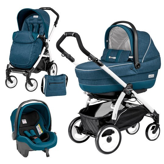 Kinderwagen-Set XL Book Plus 51 Completo Modular Gestell Weiß - Saxony Blue