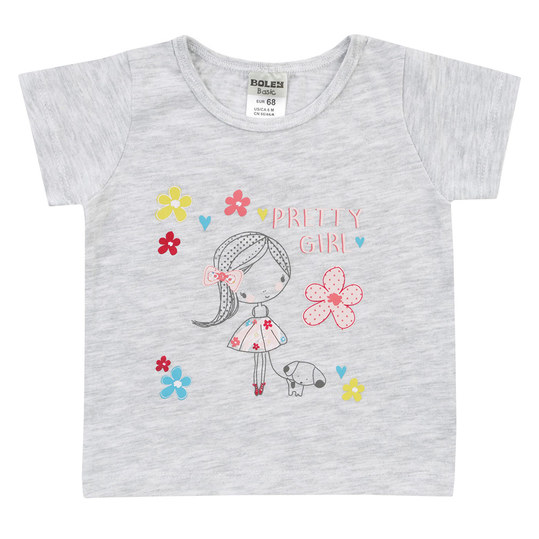T-Shirt Basic Line - Pretty Girl Hellgrau Melange - Gr. 62