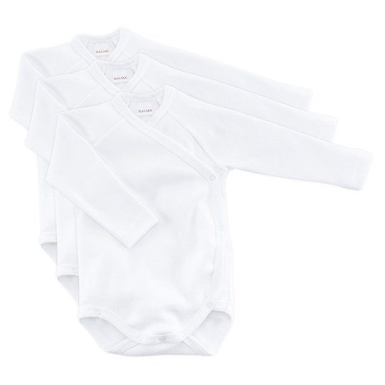 Wickelbody 3er Pack Long Sleeve - White - Gr. 50/56