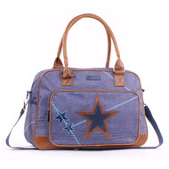 Wickeltasche Super Star mit Applikation - Blau