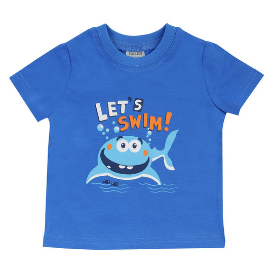 T-Shirt Basic Line - Let´s swim Blau - Gr. 74