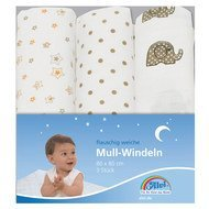gauze diaper pack of 3 80 x 80 cm - elephant