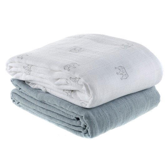 wraparound & gauze cloth pack of 2 120 x 120 cm - crown white grey