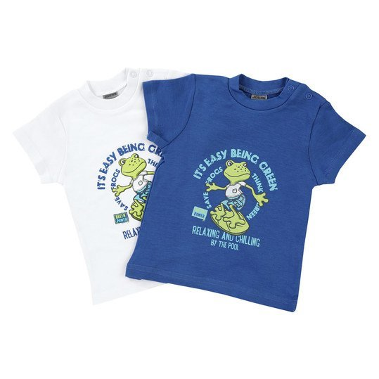 T-Shirt 2er Pack - Frogs - Blau Weiß - Gr. 74/80
