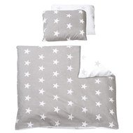 Reversible bed linen 80 x 80 cm - Little Stars - Grey White