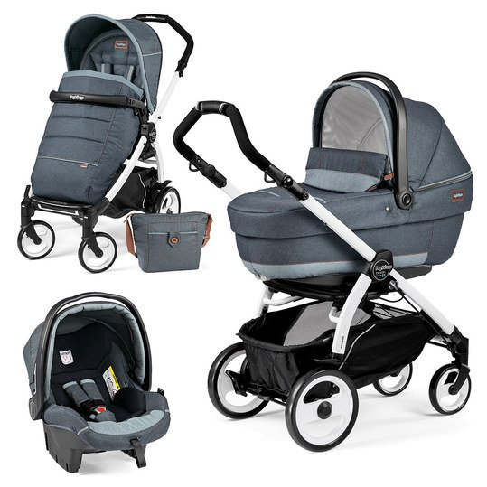 Kinderwagen-Set Book Plus 51 XL Completo Modular Gestell Weiß - Blue Denim