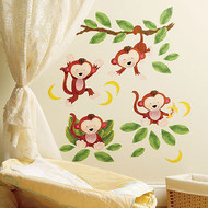 24-tlg. Wandaufkleber-Set - Baby Monkeys