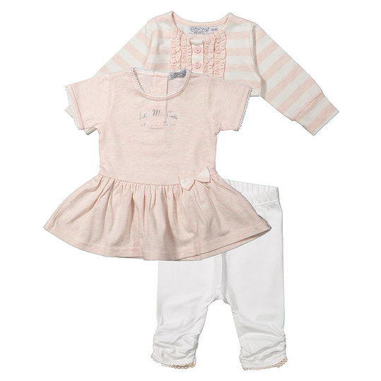 3-tlg. Set Kleid + Bolero + Leggings - Little Miss Cutie Rosa Weiß - Gr. 74