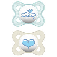 Dummy 2-pack Original - Silicone 0-6 M - I love Daddy - for boys