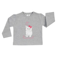 Langarmshirt Basic Line - Cat Friend Grau Melange