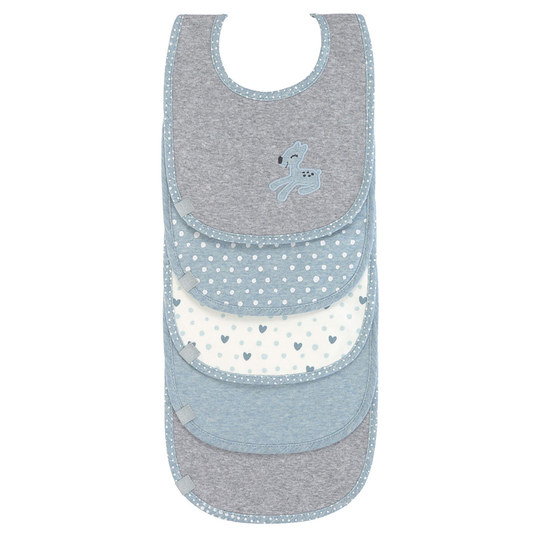 Klett-Lätzchen 5er Pack - Lela - Light Blue
