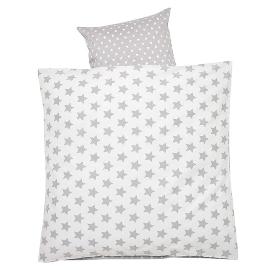 Bed linen 80 x 80 cm - Stars - Silver