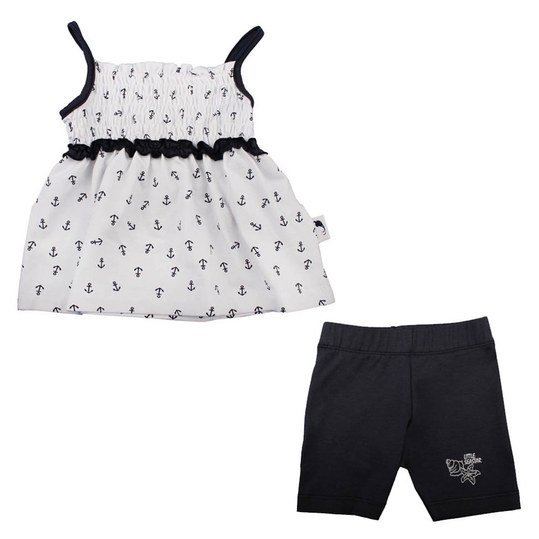2-tlg. Set Top + Shorts - Little Seastar - Weiß Marine - Gr. 62