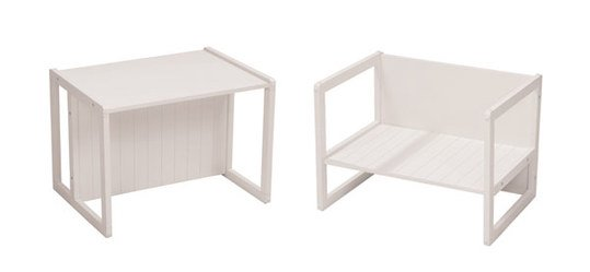 Children's table & chair 2 in 1 - White