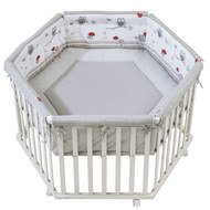 Playpen 6-sided white incl. inlay 120 x 120 cm - Adam & owl