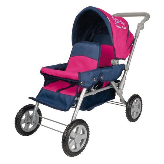 Zwillings-Puppenwagen Big Twin - Flower Power Pink