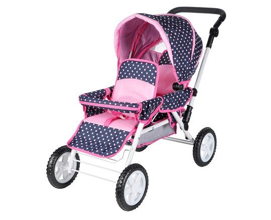 Zwillings-Puppenwagen Big Twin - Dots Ocean Pink