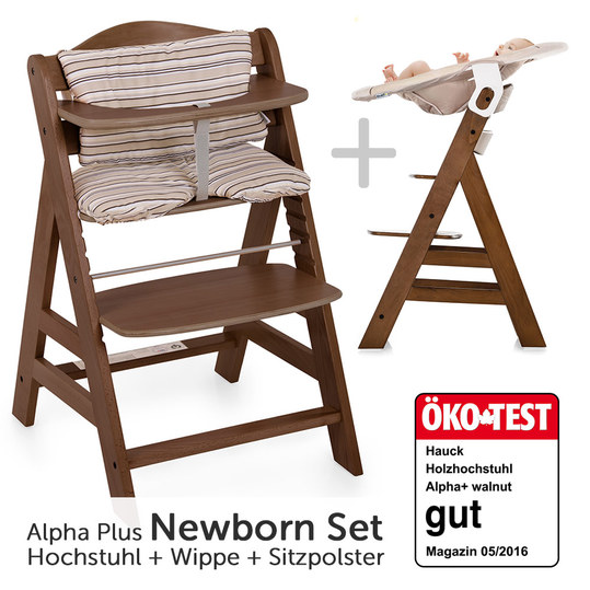 hauck alpha plus walnut newborn set hochstuhl neugeborenenaufsatz wippe sitzpolster. Black Bedroom Furniture Sets. Home Design Ideas