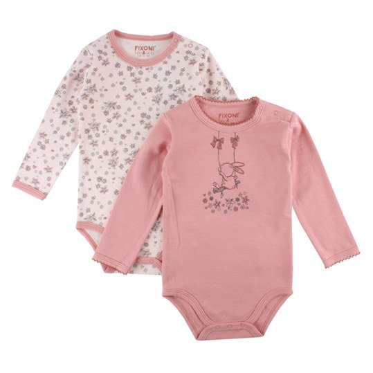 Body 2er Pack Langarm - Hase Blume - Weiß Rosa - Gr. 62