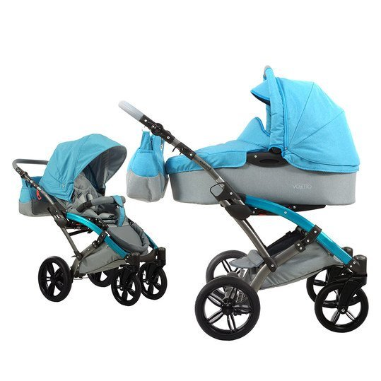 Kombi-Kinderwagen Voletto Happy Colour - Grau Blau