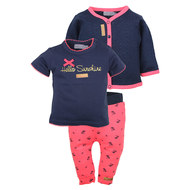 3-tlg. Set T-Shirt + Hose + Jacke - Sunshine Navy Pink