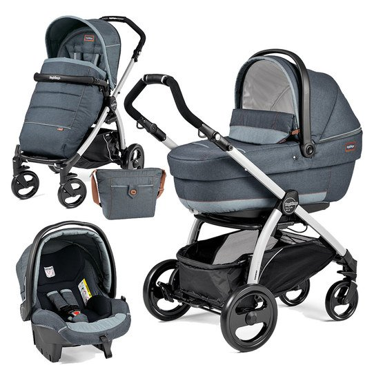 Kinderwagen-Set Book Plus XL Completo Modular Gestell Silber - Blue Denim