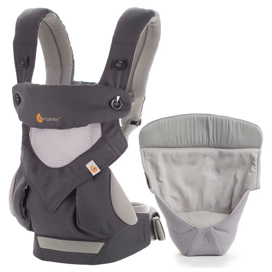 Babytrage-Set 360° Cool Air Mesh Paket von Geburt an - Carbon Grey