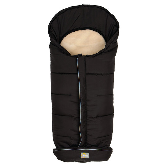 Fleece footmuff with lambswool cover Marviso - Black